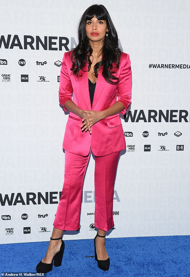 jameela jamil in a hot pink suit