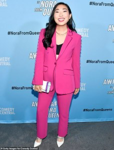 awkwafina in a hot pink suit