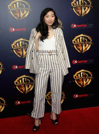 awkwafina in a striped suit