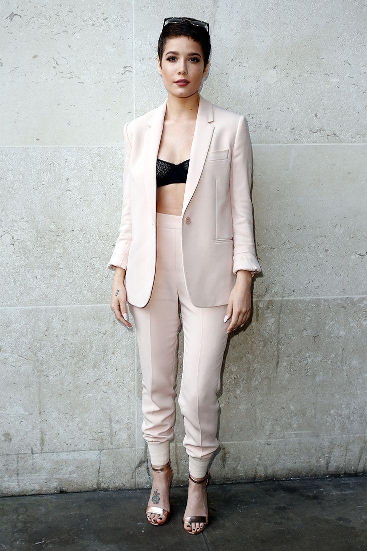 halsey in a peach suit