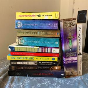 large pile of colourful books