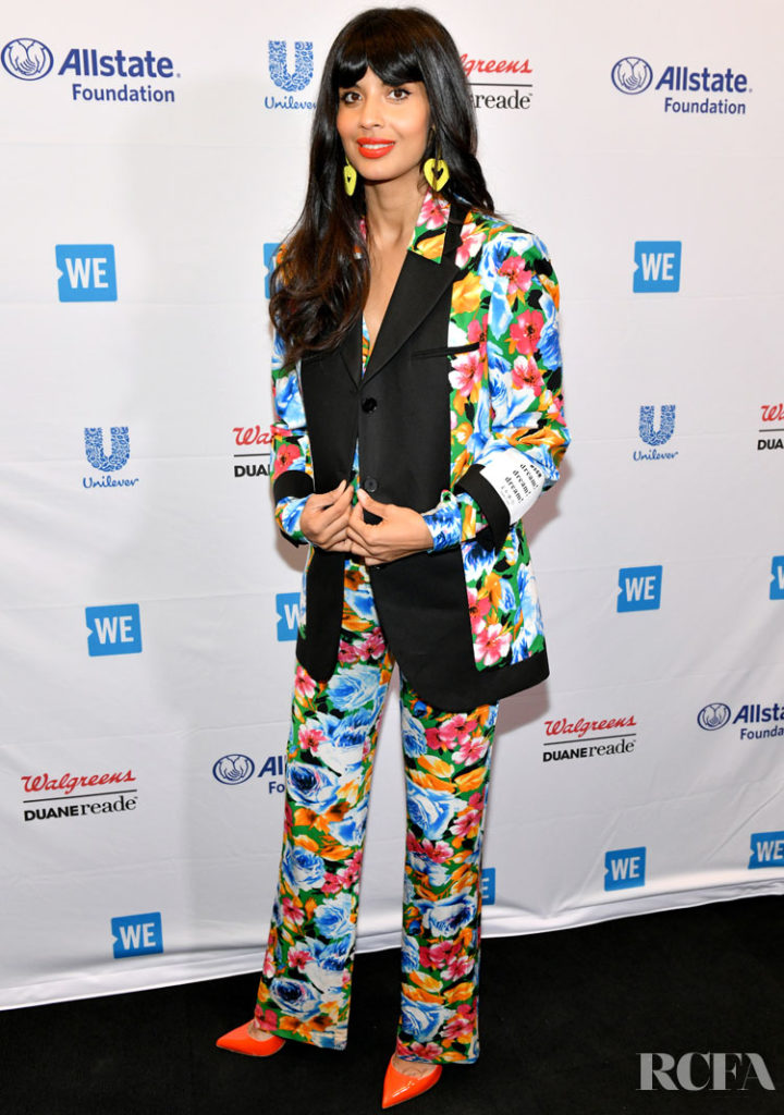 jameela jamil in a bright patterned suit