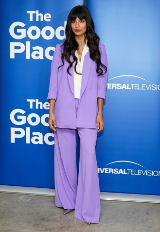 jameela jamil in a lilac suit