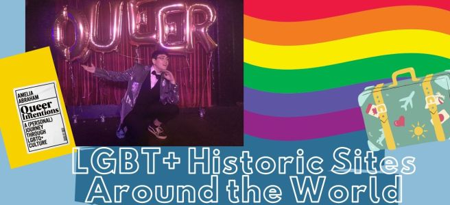 photo of artie in front of baloons that spell 'queer' lgbt+ historic sites around the world a rainbow and a book
