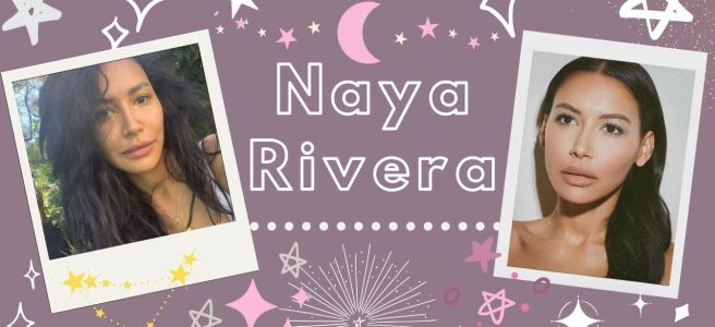 naya rivera photos on a mauve background with lots of stars