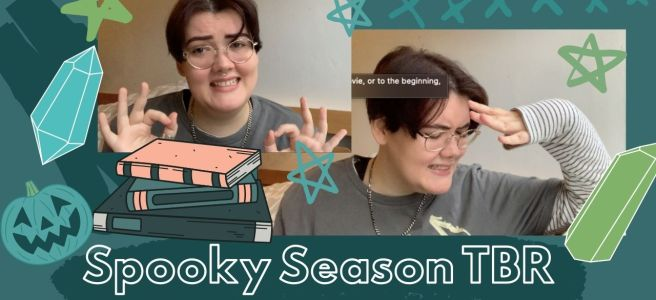 two photos of artie looking embarrassed with lots of stars and crystals and a pumpkin face and a pile of books, 'spooky season tbr' in large text